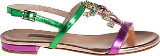 Albano sandalo basso con accessorio Swarovski, 35 / verde