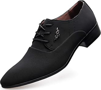 LanFengeu Men Business Casual Shoes Pointed Toe Breathable Low Top Lace up Derbys Office Work Non Slip Dress Shoe Black