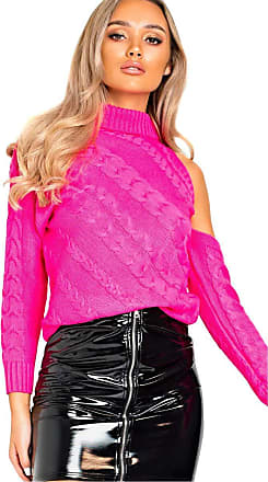 Ikrush Yasmin Knitted Cut Out Jumper Pink UK M/L