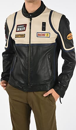 Blauer Leather Biker Jacket with Embroidery size Xxl