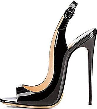 Onlymaker Sandalen High Heels Slingback Stiletto Peep Toe Party Pumps  Schwarz1 EU35 70644f937e