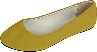 Vdual Women Ladies Slip On Flat Comfort Walking Ballerina Shoes Size UK 2.5-8 Apricot Yellow