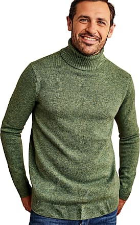 WoolOvers Mens Lambswool Polo Neck Knitted Jumper Mid Pea Marl, L