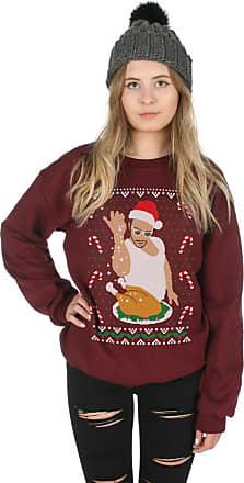 Sanfran Clothing Sanfran - Salt Bae Christmas Top Xmas Festive Snow Turkey Funny Jumper Sweater - Medium/Maroon
