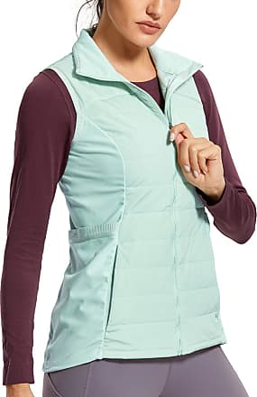 CRZ YOGA Womens Athletic Padded Vest Lightweight Full-Zip Sleeveless Jackets with Pockets Ice Cream Green 16