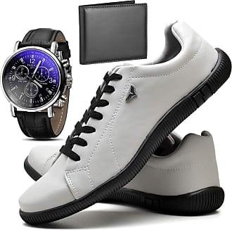 Juilli Kit Sapatênis Sapato Casual Com Relógio e Carteira Masculino JUILLI 920DB Tamanho:37;cor:Branco;gênero:Masculino