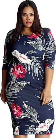 Nouvelle Collection Bold Floral Print Midi Dress Navy Blue 16