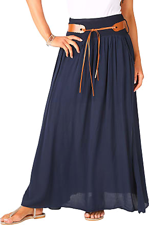 Krisp 4809-NVY-ML: Tie Belted Boho Maxi Skirt Navy