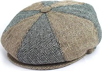 GFM Baker Boy Hat - 8 Panel in Grey & Brown Herringbone Pattern Newsboy Flat Cap (BHKEK-57cm)