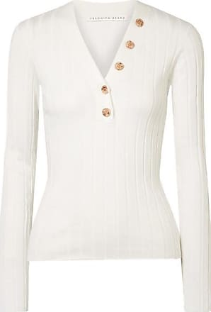 Veronica Beard Beaumont Ribbed Cotton Sweater - White