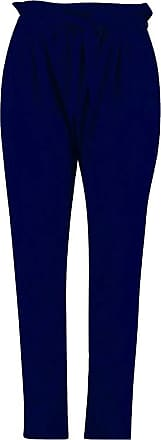 Top Fashion18 Top Faashion18 Women Plus Casual Paperbag Waist Tapered Straight Cut Trousers Size 14-28 Navy Blue