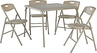Dorel Home Products Cosco 37557ANTE 5-Piece Folding Table and Chair Set, Antique Linen