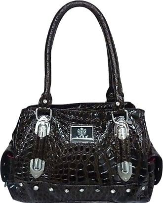 Girly HandBags Womens LYDC Designer Croc Leather Shoulder Bag Coffee Dark Brown