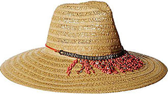 ále by Alessandra Womens Garapoba Ultralight Lace Straw Sun Hat with Beaded, Natural/Coral, One Size