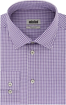 Unlisted by Kenneth Cole Mens Check Dress Shirt, Purple, 15-15.5 Neck 32-33 Sleeve (Medium)