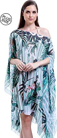 101 Resort Wear Vestido Kaftan 101 Resort Wear Plus Size Saida de Praia Estampa Folhagem Listras Verde Tamanho Unico
