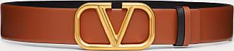 Valentino Garavani Valentino Garavani Reversible Vlogo Signature Belt In Glossy Calfskin 40mm Women Saddle Brown 100% Pelle Di Vitello - Bos Taurus 100