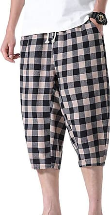 Hellomiko Mens Cropped Pants Harem Pants,Checked Streak Casual Summer Shorts Linen Trousers Black