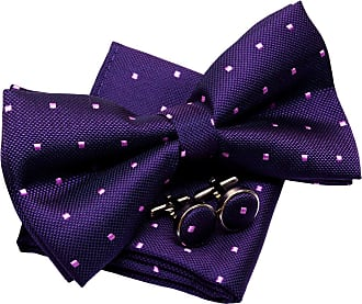 Retreez Retro Square Dots Woven Pre-tied Bow Tie (5) with matching Pocket Square and Cufflinks, Gift Box Set as a Christmas Gift, Birthday Gift - Dark Purple