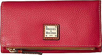 Dooney & Bourke Pebble Fold-Over Wallet (Strawberry/Tan Trim) Wallet Handbags