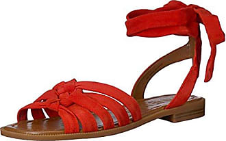 Nine West Womens XAMEERA Suede Flat Sandal, red, 10.5 Medium US