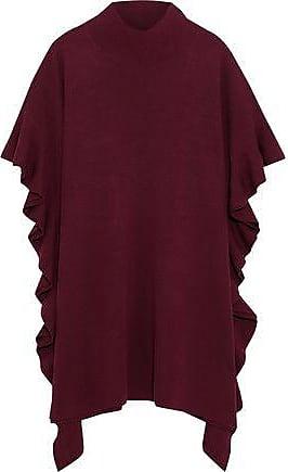 Elie Tahari Elie Tahari Woman Draped Ruffled Merino Wool Sweater Burgundy Size M/L