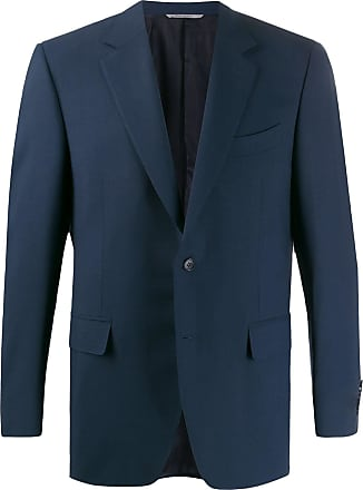 Canali Blazer slim de tricô - Azul