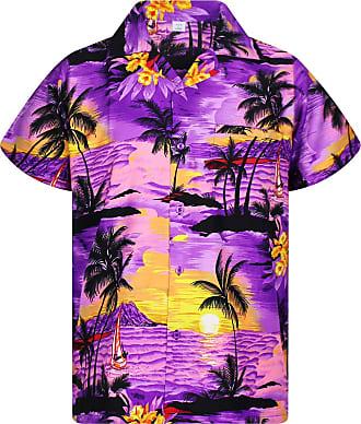 V.H.O. Funky Hawaiian Shirt, Shortsleeve, Surf, Purple, 5XL