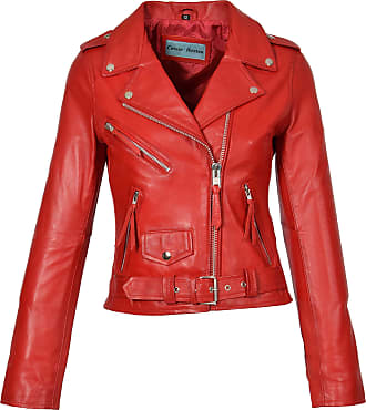 House Of Leather Ladies Real Leather Biker Jacket Casual Slim Fit Retro Brando Style Mia Red (14)