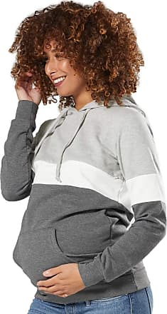 Zeta Ville Zeta Ville - Womens Breastfeeding top Sweatshirt Hoodie - Nursing Panel - 503c (Light Grey Melange & White & Graphite Melange, UK 16, 2XL)