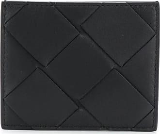 Bottega Veneta Porta-cartões de couro com detalhe trançado - Preto