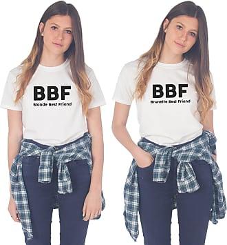 Sanfran Clothing Sanfran - BBF Blonde Brunette Best Friend Matching Besties T-Shirt - Large & Small/White