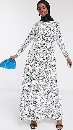 Asos maxi dress with long sleeves in mono spot print-White