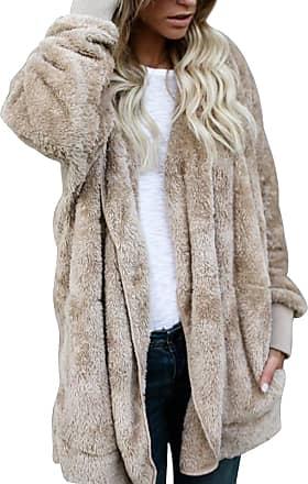Yidarton Womens Winter Teddy Bear Coat Ladies Fuzzy Fleece Lapel Long Sleeve Outwear Jacket Cardigan (Z-Khaki, X-Large)