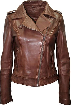 Infinity Ladies Retro Brando 442 Chestnut Brown Biker Casual Soft Nappa Leather Jacket (18)