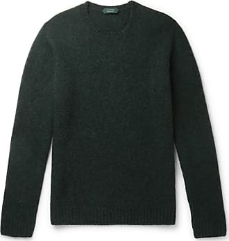 Incotex Slim-fit Mélange Virgin Wool Sweater - Forest green
