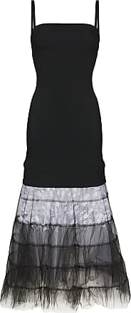 Christopher Kane Vestido longo de tule e renda na barra - Preto