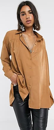 Object oversized shirt with pleat detail in camel-Brown