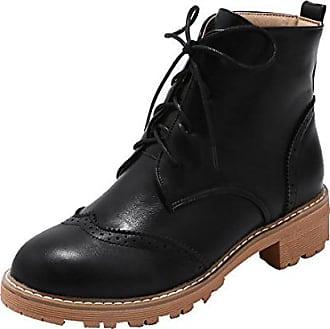 45939de7da8715 UH Damen Flache Stiefeletten Schnür Ankle Boots mit Warme Gefüttert Bequeme  Vintage Herbst Winter Schuhe