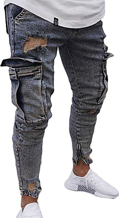 junkai Men Ripped Skinny Biker Jeans Frayed Slim Fit Cargo Combat Denim Jeans Pants Dark Blue 3XL