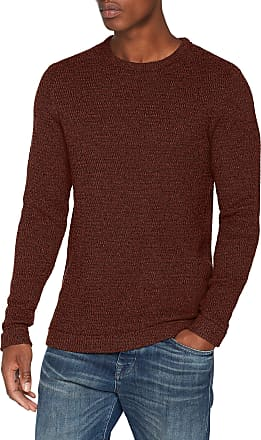 Selected Homme Mens Slhvictor Crew Neck W Noos Jumper, Brown (Tortoise Shell Detail:Twisted W. Black), Large