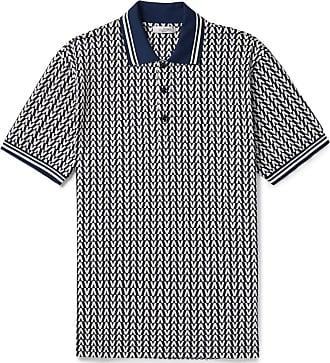 1c81aa798 Valentino Stripe-trimmed Logo-jacquard Cotton-piqué Polo Shirt - Navy