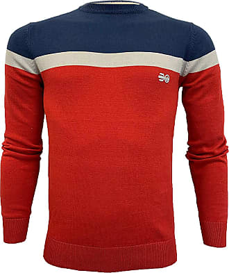 Crosshatch Mens Jumper LUMBERT Navy/Red Large