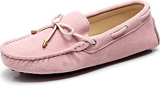 Jamron Womens Classic Suede Bow Tie Loafers Comfort Handmade Slipper Moccasins Pink 24208-2 UK6.5