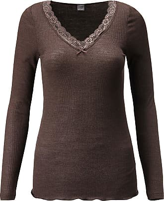 Madeleine Shirt mit langen Ärmeln und Spitze in dunkelbraun MADELEINE Gr 36, schoko für Damen. Seide, Wolle