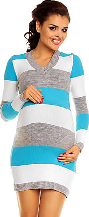 Zeta Ville Zeta Ville Womens - Maternity Stripes Knit Jumper Dress Tunic Top V-Neck - 405c (Turquoise, ONE Size UK 8/10/12, ONE Size)