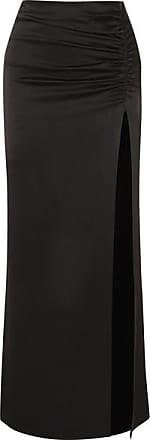 Alice & Olivia Diana Ruched Satin Maxi Skirt - Black