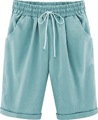 OCHENTA Womens Casual Elastic Waist Knee-Length Bermuda Shorts with Drawstring 9800 Sky Blue UK 16 - Tag 5XL