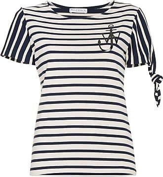J.W.Anderson Camiseta listrada mangas curtas com estampa de logo - Azul
