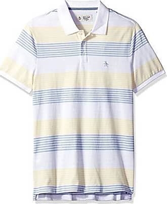 0ca04e45 Original Penguin Mens Short Sleeve Stripe Polo, Bright White/Faded Denim S